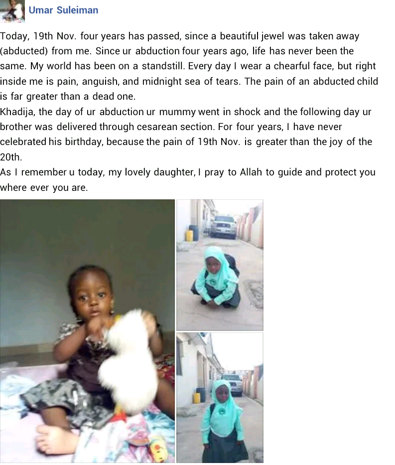 """I pray to Allah to guide and protect you wherever you are"" - Nigerian man pens heartbreaking post on 4th anniversary of his daughter"