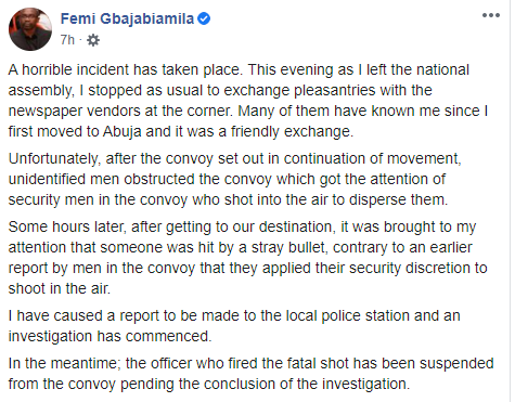 Femi Gbajabiamila reacts after a stray bullet fired by his security detail killed a newspaper vendor in Abuja