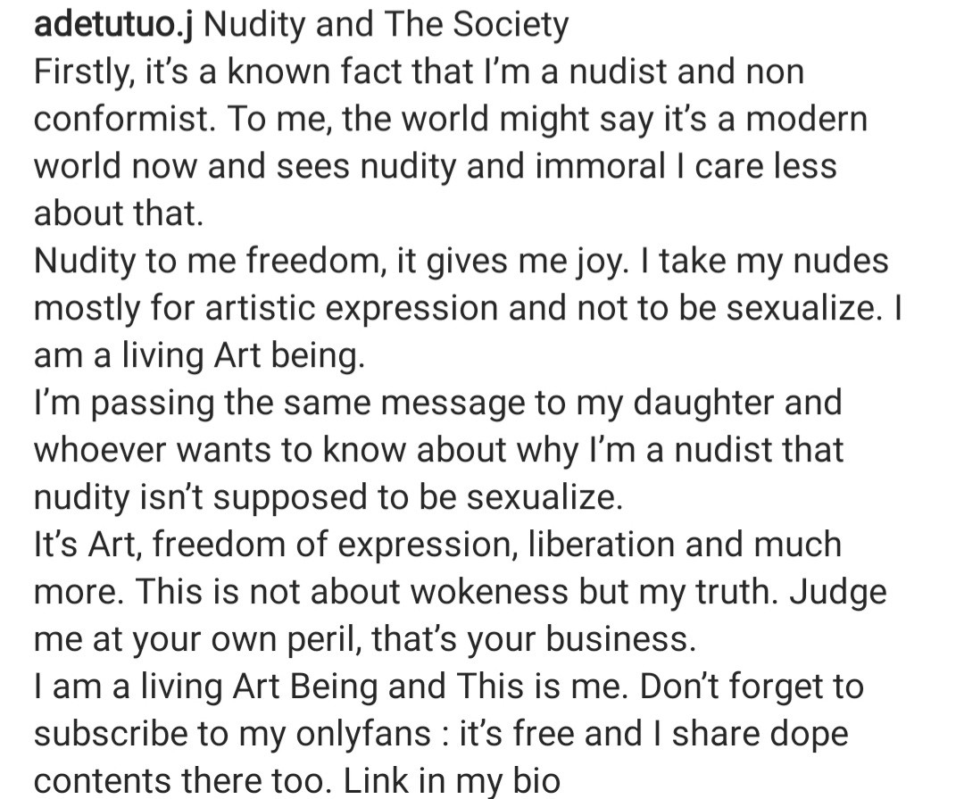 Tribal mark model, Adetutu flaunts bare boobs in new photos as she reveals she is now on OnlyFans