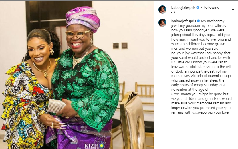 Actress Iyabo Ojo loses her mother