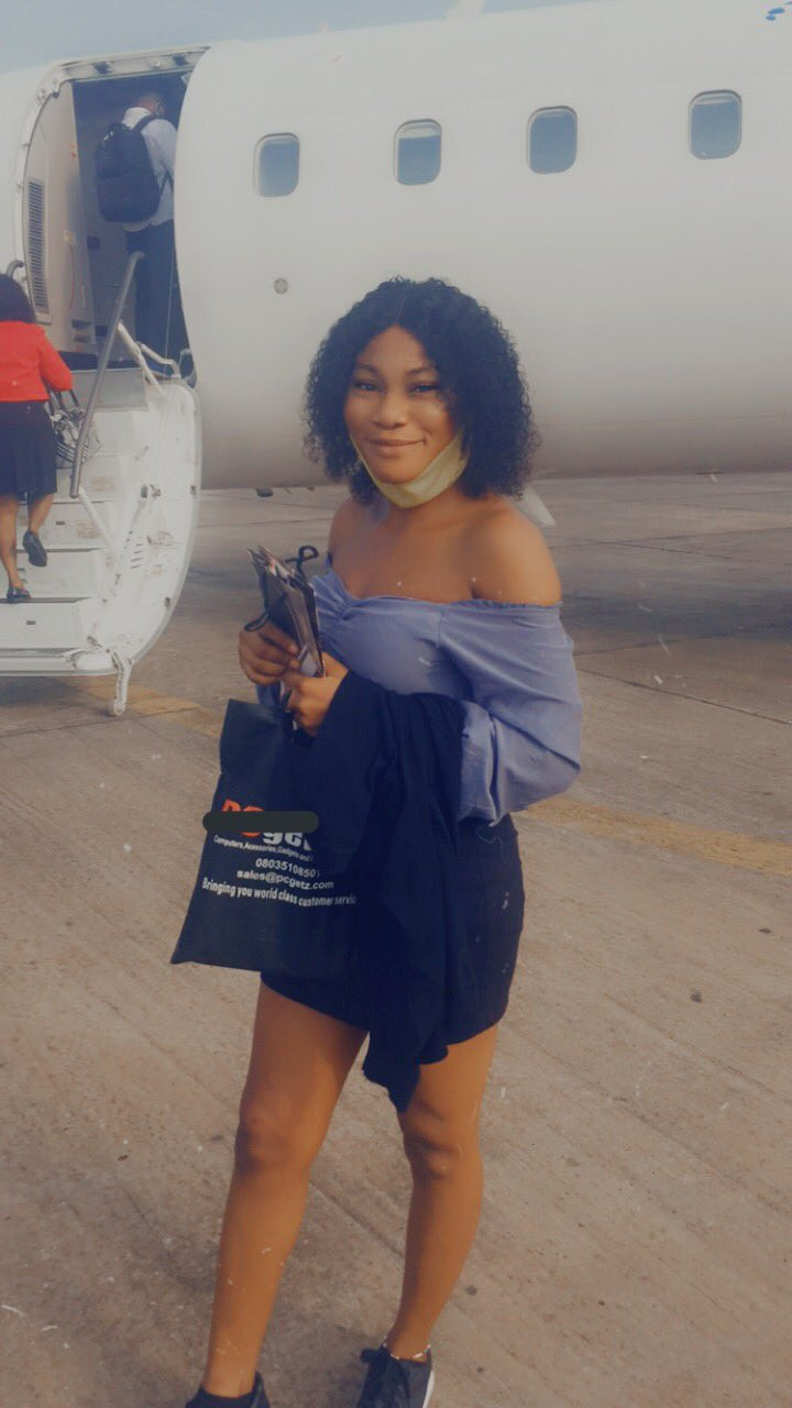 """""""The God that did my own will do yours too"""" - Nigerian lady celebrates as she enters airplane for the first time in her life"""