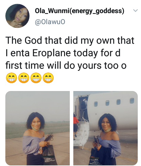 """The God that did my own will do yours too"" - Nigerian lady celebrates as she enters airplane for the first time in her life"