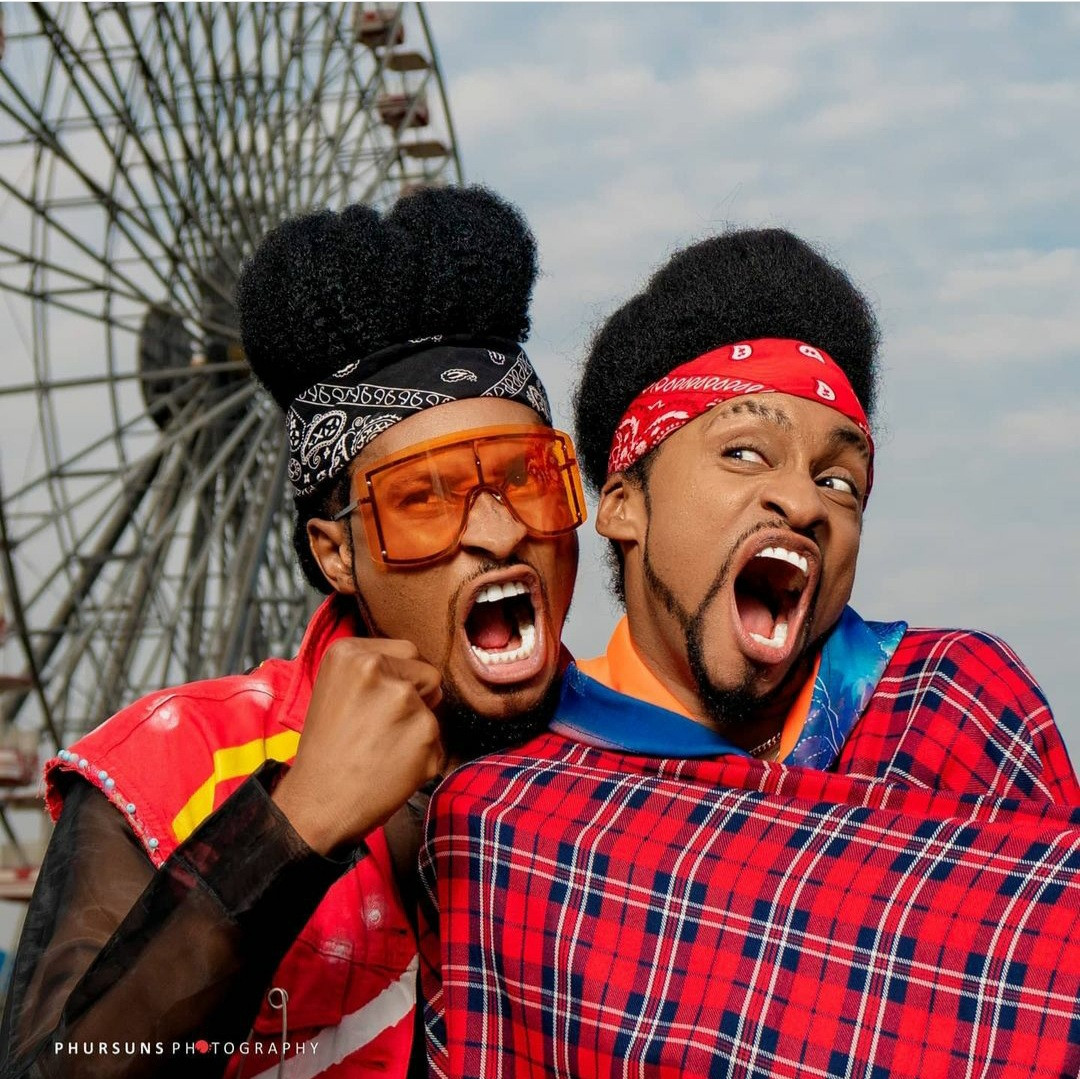 """Time to start questioning our parents"" Denrele says as he meets and poses with his doppelganger (photos)"