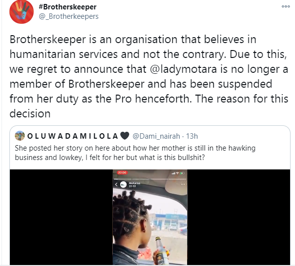 Twitter influencer, Omotara loses membership of organization she?s part of after a video of her making fun of a beggar went viral