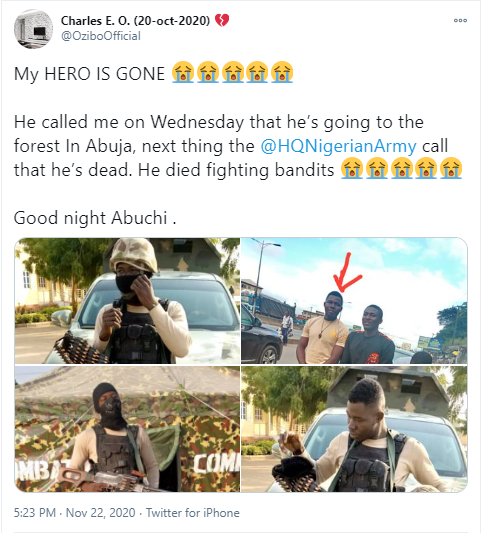 Man mourns Nigerian soldier who died while fighting bandits (photos)