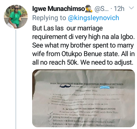 """Marriage requirement is very high in Igboland"" - Lady says her brother spent less than N50K on traditional marriage items to marry his wife from Benue"