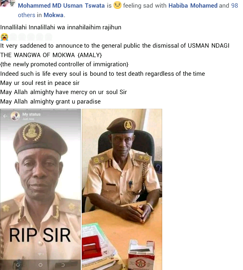 Newly promoted Deputy Comptroller, Nigeria Immigration dies hours after receiving news of his sister