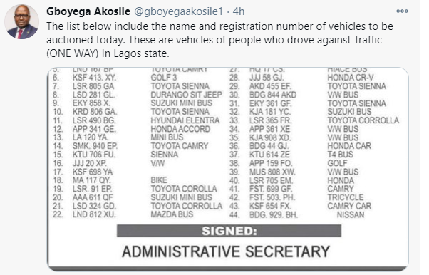 Lagos state government to auction 44 vehicles seized from residents caught driving against traffic