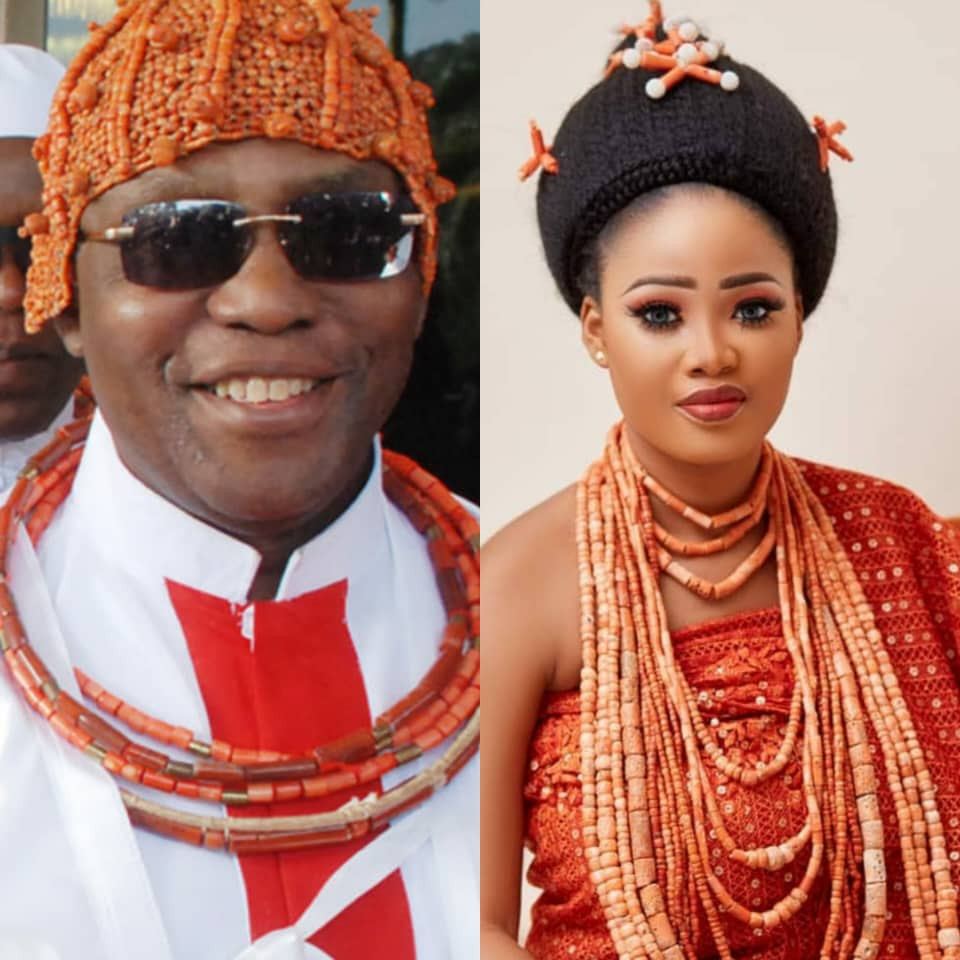 Oba of Benin and one of his wives, Queen Owamagbe, welcome baby girl