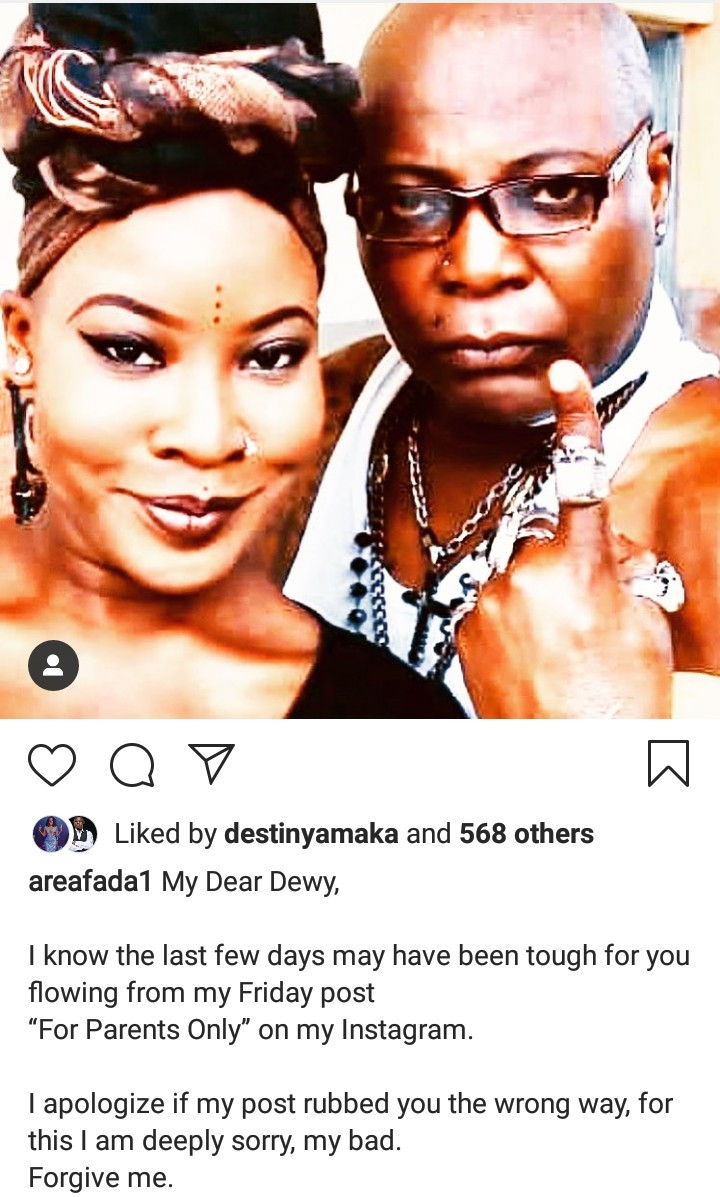 Charly Boy writes moving open letter to his daughter to apologize for his actions after she came out as lesbian