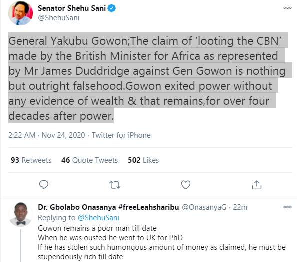 Gowon exited power without any evidence of wealth and that remains for over four decades after power - Shehu Sani counters British lawmaker