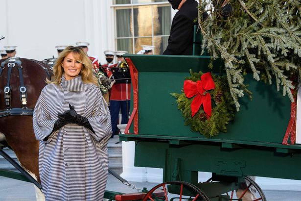Melania Trump welcomes White House Christmas tree for the last time (photos)