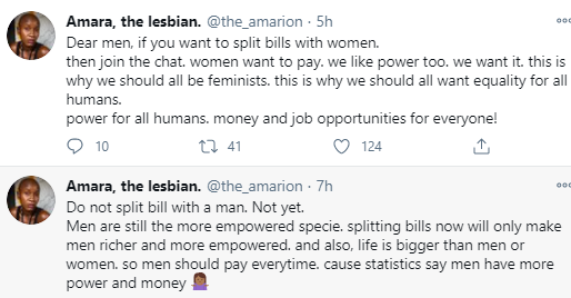 """Do not split bill with a man"" popular lesbian, Amara advices women and gives her reason"