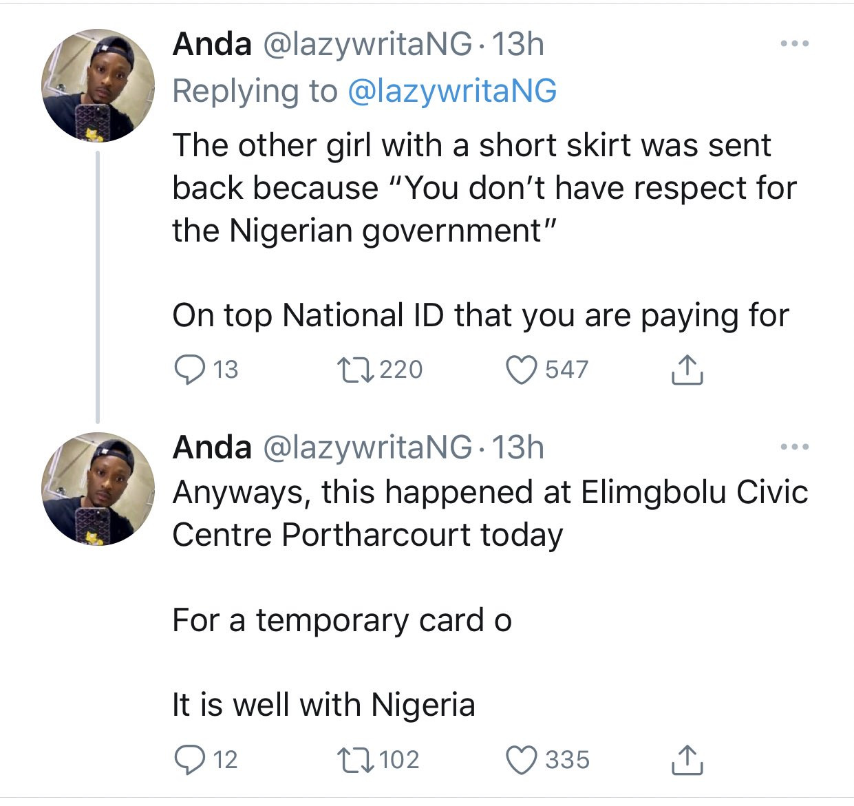 Lady given thread and needle to sew her ripped jeans before she could get a National ID in Port Harcourt