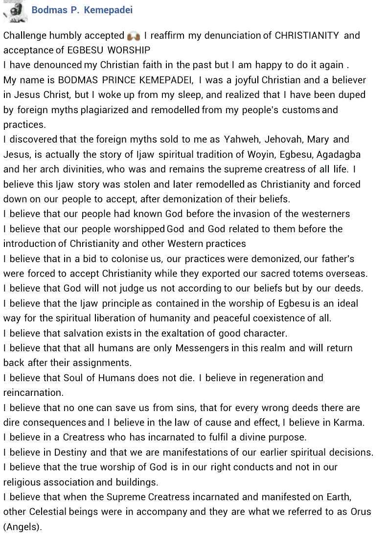 """Photos: """"I realized I have been duped by foreign myths"""" - Nigerian man publicly denounces Christianity, accepts Ijaw deity worship"""
