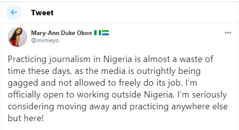 Practicing journalism in Nigeria is almost a waste of time- Journalist, Mary-Ann Duke Okon says as she considers leaving Nigeria to practice in another country