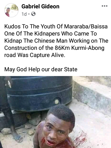 Gunmen abduct Chinese expatriate and his driver in Taraba as youths foil another kidnap attempt