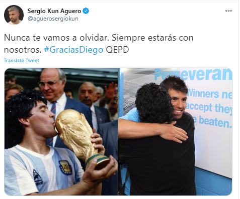 Manchester City striker, Sergio Aguero pays tribute to Diego Maradona, who was his son