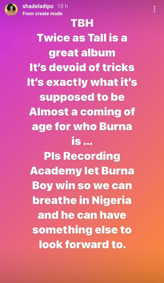 I want Burnaboy to win the Grammy so that we can rest and breathe ? Media Personality, Shade Ladipo
