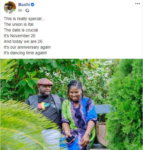 Gospel artiste, Buchi, and wife celebrate 26th wedding anniversary