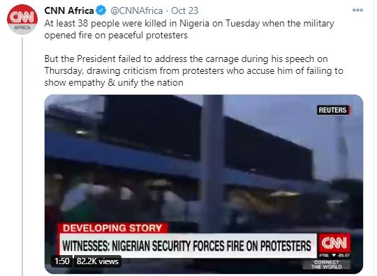 #EndSARS: CNN clarifies its tweet about