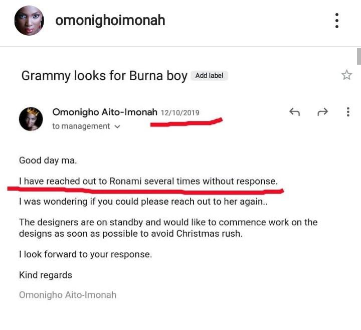 Fashion illustrator, Omonigho accuses Burna Boy