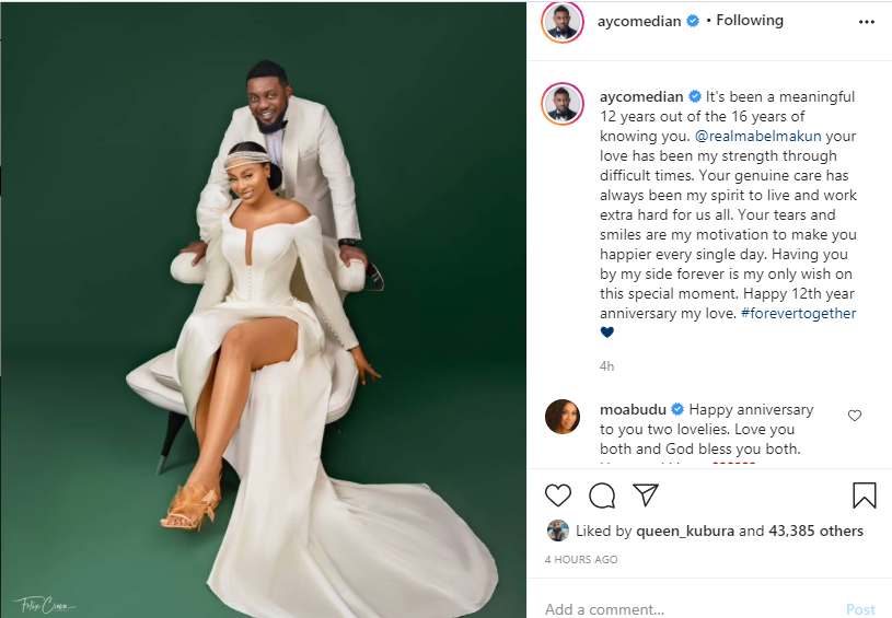 Comedian AY and Mabel celebrate 12th wedding anniversary*