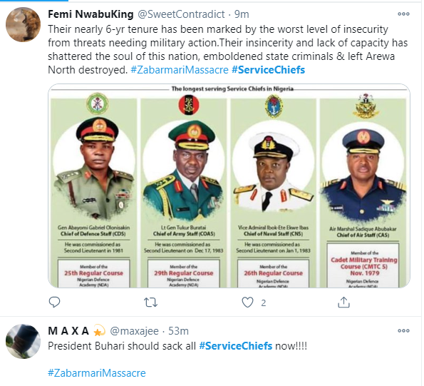#ServiceChiefs trend as Nigerians react to killing of 43 farmers in Borno by Boko Haram terrorists