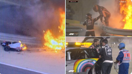 Moment Romain Grosjean comes out alive after his car went up in flames and broke into half in horror F1 crash (video)