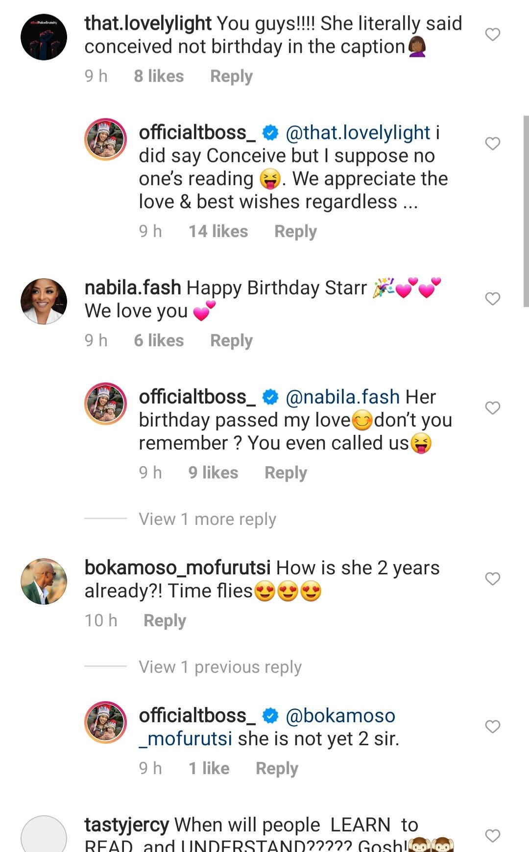 TBoss celebrates her daughter