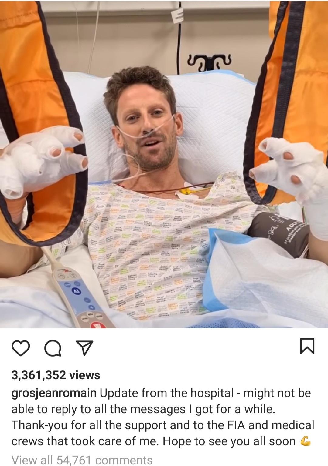 Romain Grosjean shares update from hospital after horror Formula 1 crash