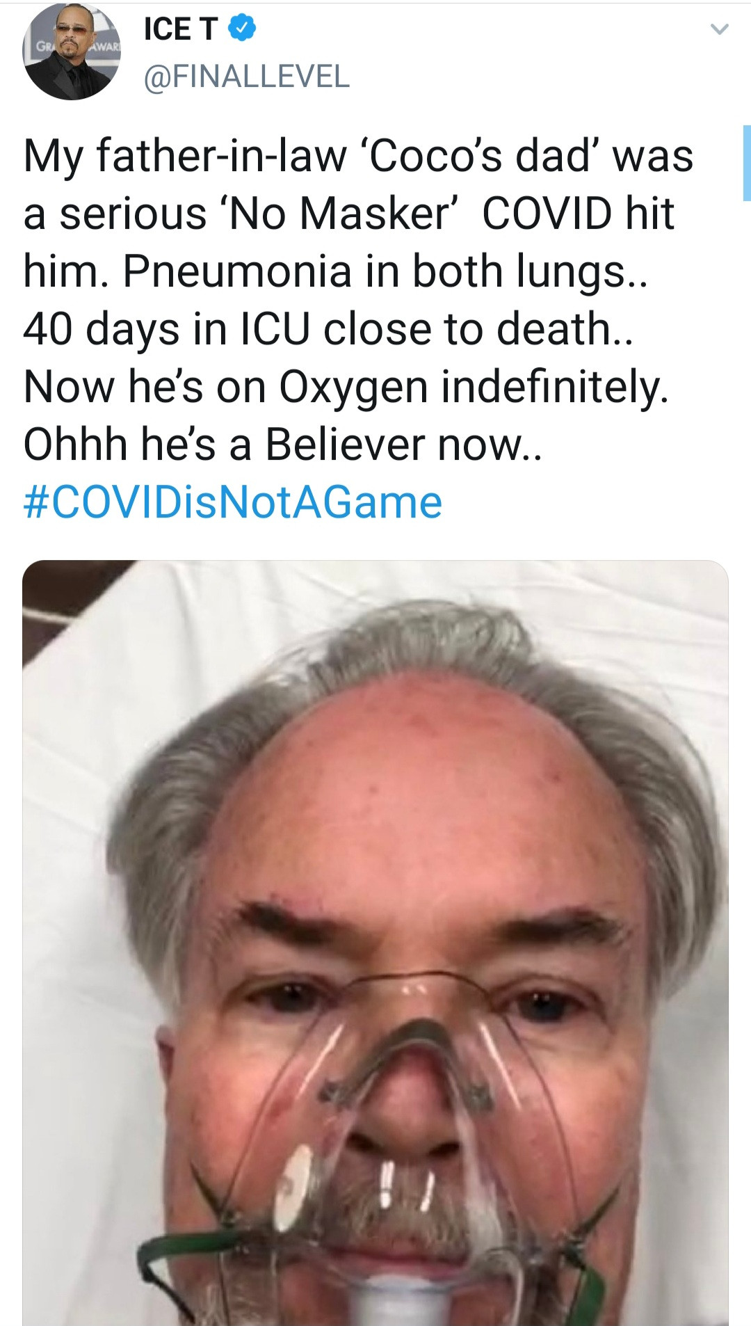 Ice T reminds followers about the severity of Covid-19 by sharing his father-in-law