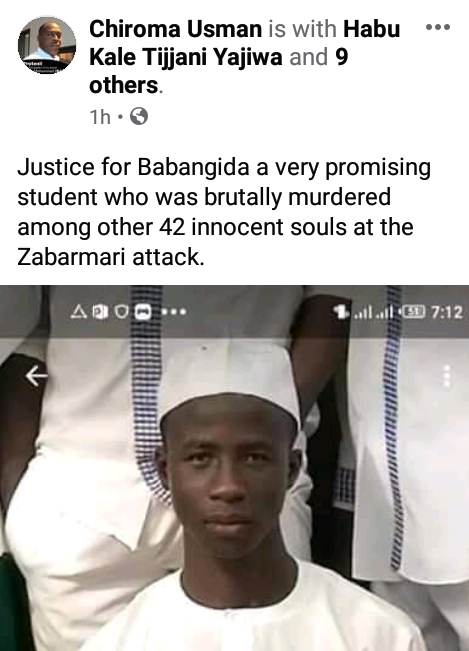 #ZabarmariMassacre: Young promising student, Babangida among farmers slaughtered by Boko Haram in Borno