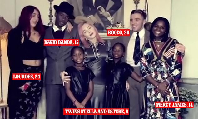 Madonna gives fans a rare look at all six of her children and boyfriend Ahlamalik Williams in family holiday photos