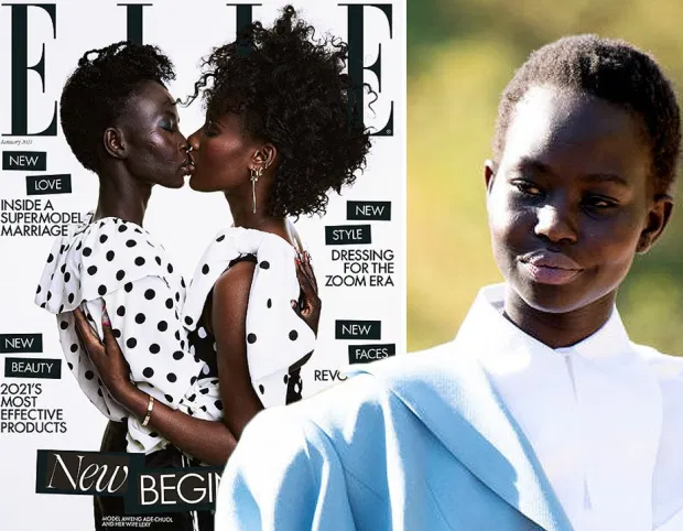 Supermodel Aweng Ade-Chuol kisses wife on cover of Elle UK in defiance of homophobic abuse