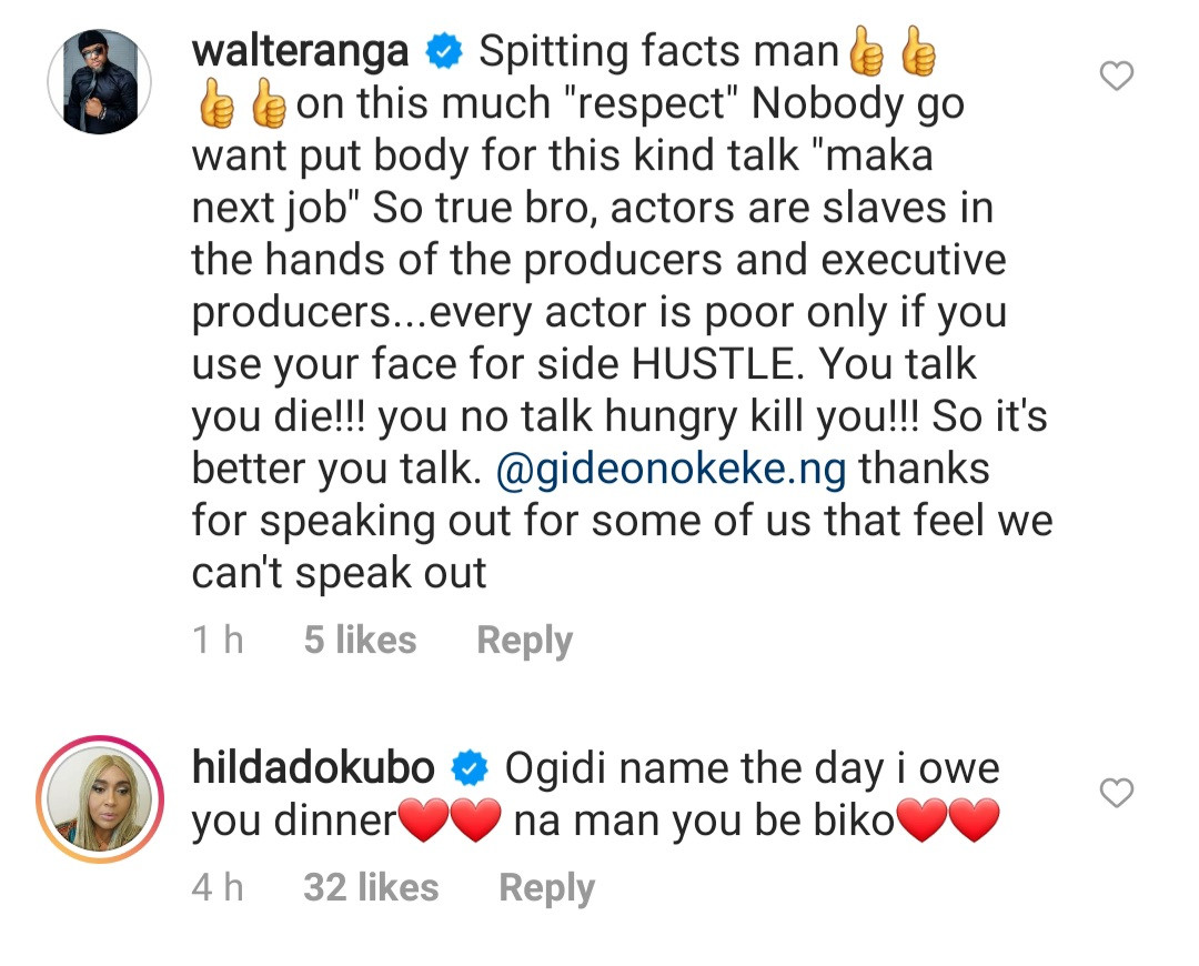 """Nollywood actors stand by Gideon Okeke after he called out Nigerian movie executives for """"impoverishing actors"""" by refusing to pay royalties"""