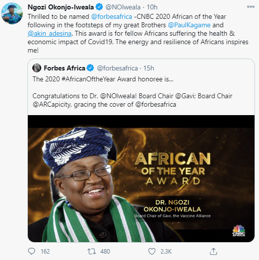 Forbes names Ngozi Okonjo-Iweala Africa Person of the Year 2020