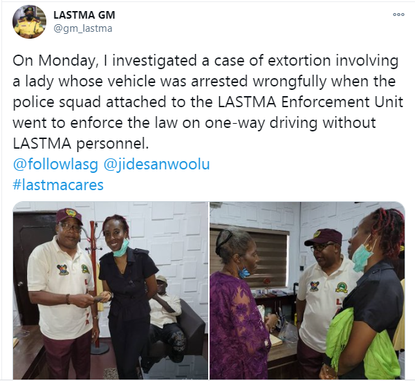Lady who was wrongly extorted by police squad attached to the LASTMA Enforcement Unit gets her money back