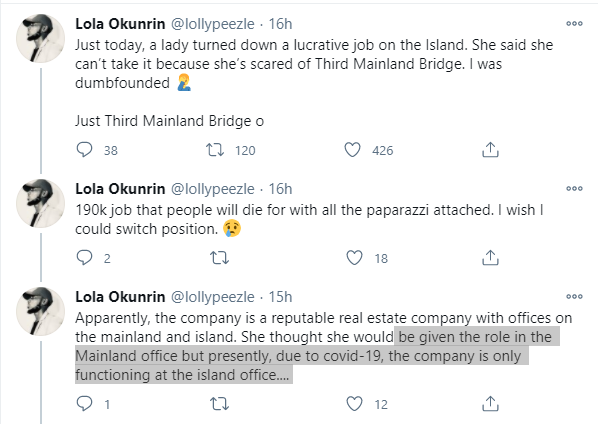 Twitter Stories: Lady turns down N190k job in Lagos because she