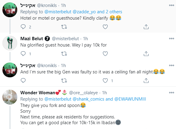 Nigerian man complains about the poor meal he was served in a N10, 000 per night guest house he lodged in Ibadan (photos)