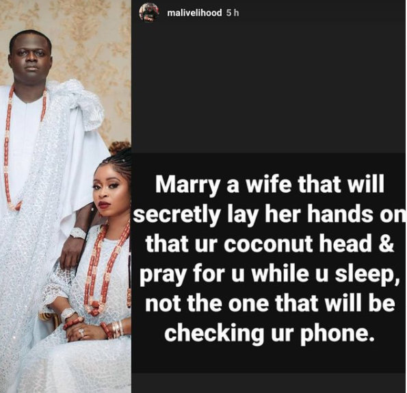 Few hours to his wedding, luxury designer, Malivelihood, advises men on the type of woman they should get married to