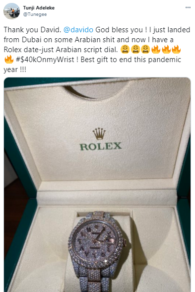 Davido gifts his cousin, Tunji Adeleke, a $40k Rolex (photos)