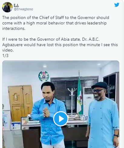 Nigerians react to viral video of Abia state governor