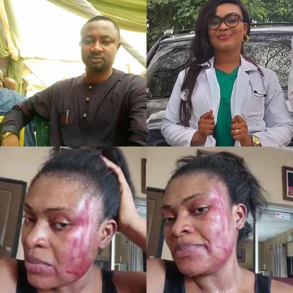 Lady calls out her husband, Pius Angbo, a staff of Channels TV, for allegedly beating her mercilessly just four weeks after she welcomed their fourth child (video)