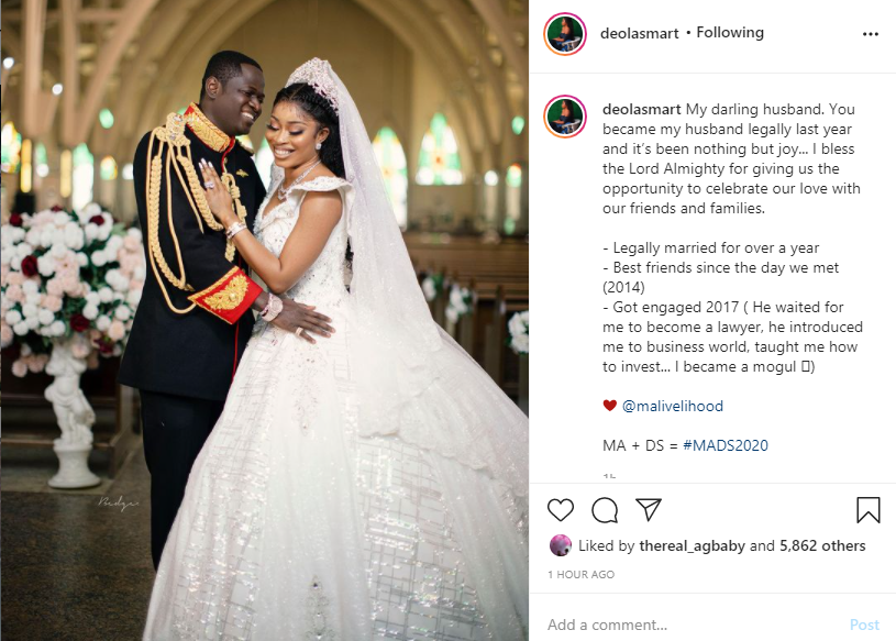 You became my husband legally last year - Deola Smart gushes about husband Malivelihood