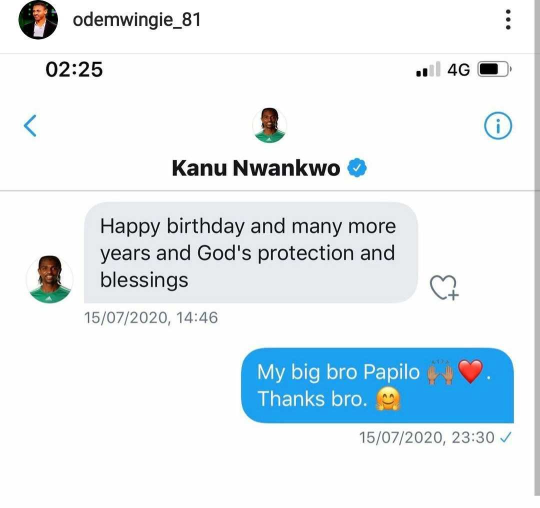 """I read too much into the greetings"" Odemwingie apologises to Kanu and family"