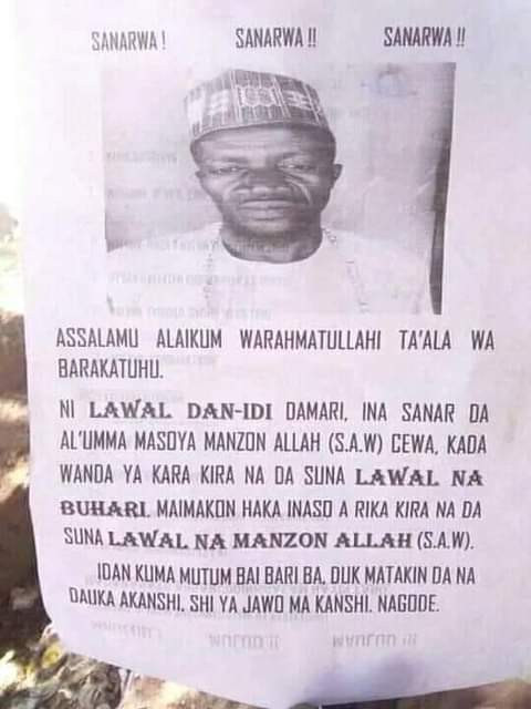 """Man reportedly puts up a public notice, says he no longer wants to be called the name """"Lawal Buhari"""""""