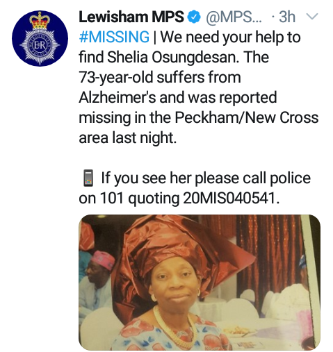 73-year-old woman declared missing in the UK