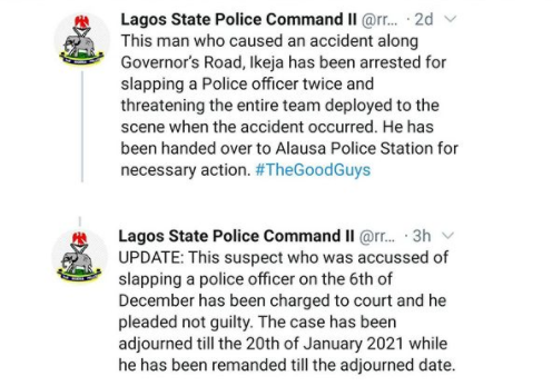 Man accused of slapping police officer in Lagos charged to court, remanded in custody till January 2021