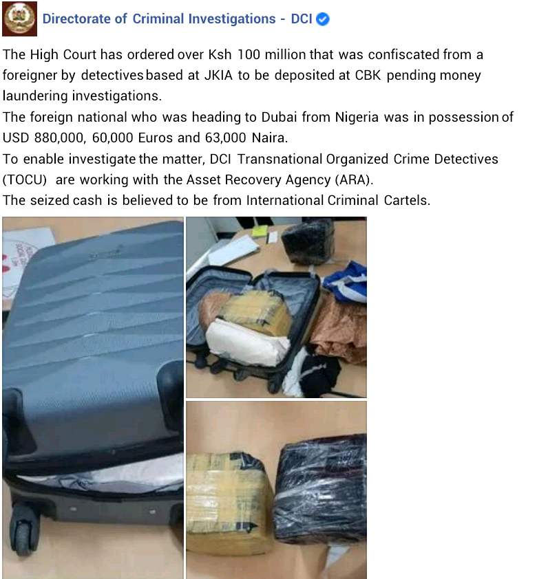 Money Laundering: Dubai-bound Nigerian man arrested with N454million cash at Jomo Kenyatta International Airport
